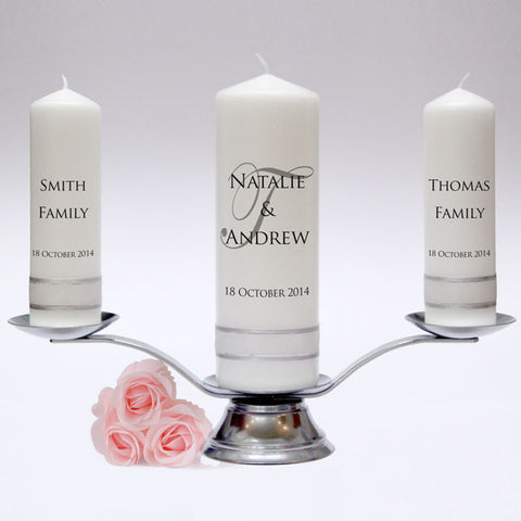 Personalised Wedding Candle Pillar Set - Signature Design. A simple, yet elegant design. Handmade in UK by Candles Online.