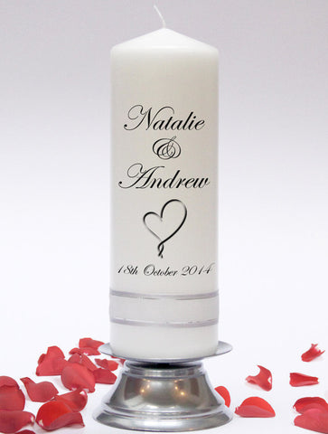 Personalised Wedding Unity Candle. Classic designs, fully customised and handmade in UK.