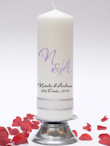 Personalised Wedding Unity Candle. Stylish designs, fully customised. Hand made in UK.