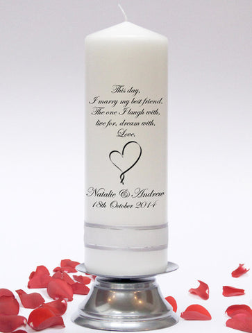 Personalised Inscription Wedding Unity Candle. Customised with a poem or verse of your choice. Handmade in UK.
