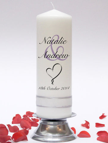 Personalised Wedding Unity Candle - Modern Design. Wedding Candles, Wedding Candle Set & Candleholders.