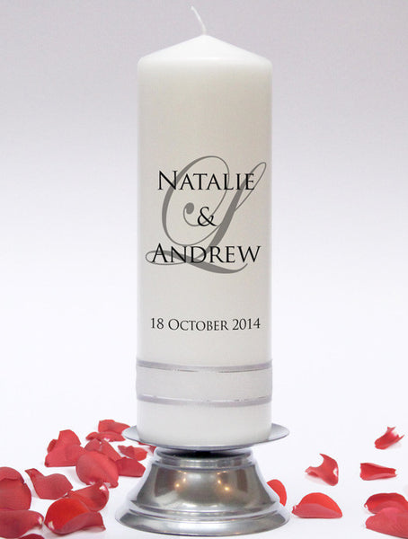 Personalised Wedding Unity Candle - Signature Design. A simple, yet elegant design. Handmade in UK by Candles Online