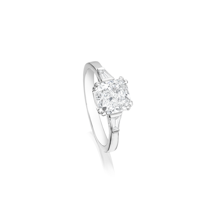 Cushion Cut Tapered Engagement Ring