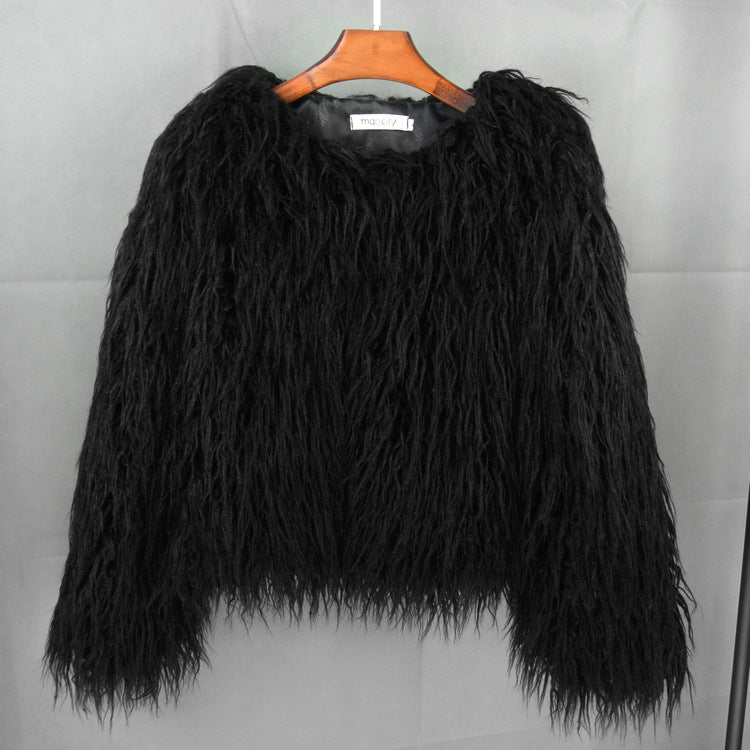 Quick-selling through foreign trade supply leather fur imitation fur coat Korean version of pure-color beach wool women's short coat manufacturers straight