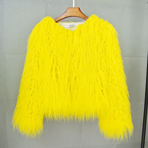 Image of Quick-selling through foreign trade supply leather fur imitation fur coat Korean version of pure-color beach wool women's short coat manufacturers straight