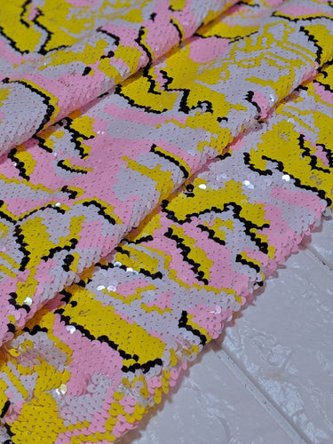 Yellow&Pink Pixel Camo Sequin