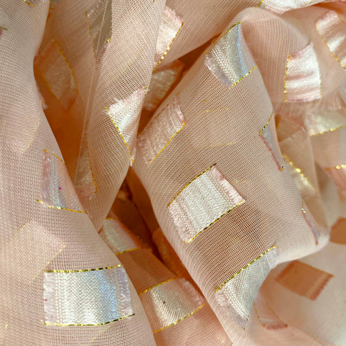 Blush Satin Square Chiffon fabric