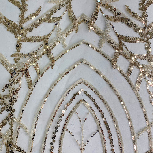 Beige Arch Beaded Fabric by the Yard