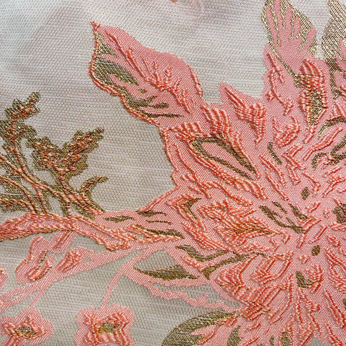 Coral/Gold Floral Metallic Brocade Woven Fabric