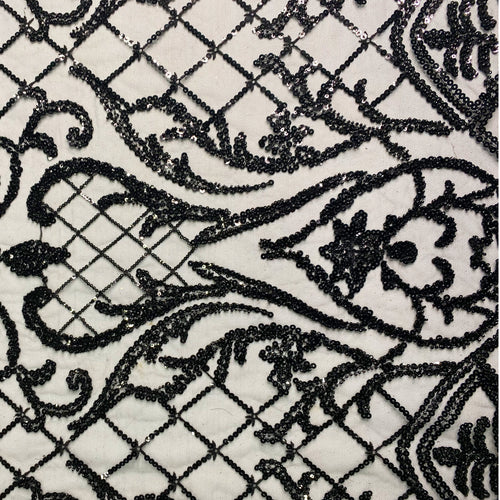 Black Regal Beaded Fabric by the Yard