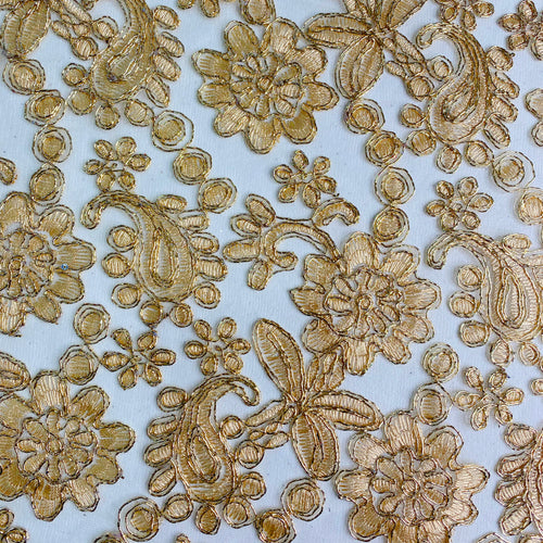 Gold Embroidered Lace on Transluscent Net by the yard