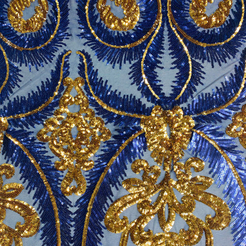 Blue/Gold Royal Feather Sequin Stretch