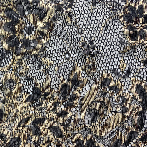 Black/Gold Chantilly Lace by the yard