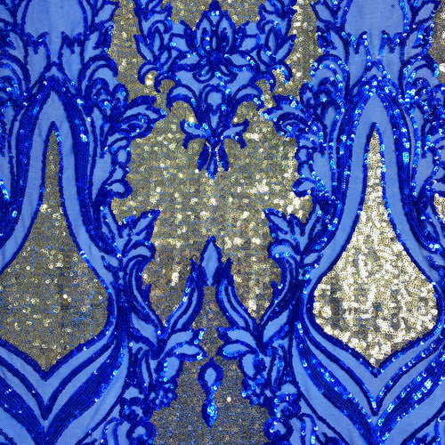 Blue/Gold Mesh Fleur Sequin Stretch