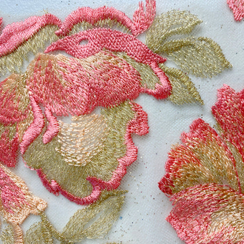 Pink/Green Floral Lace Embroidery