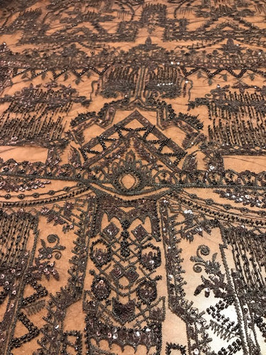 Black Architectural Beaded Fabric by the yard