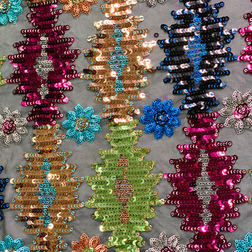 Multicolor Floral Sequin 4 way Stretch on Mesh