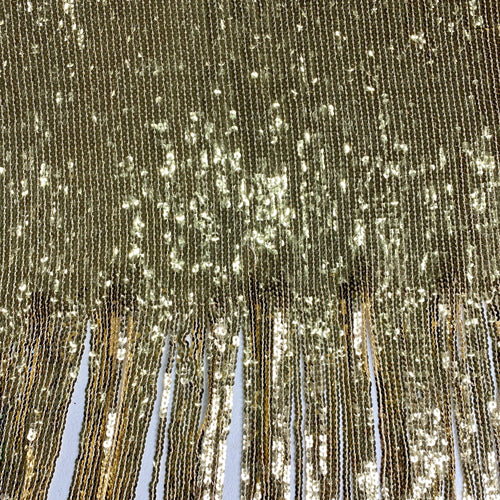 Gold Sequin Fringe Stretch Fabric