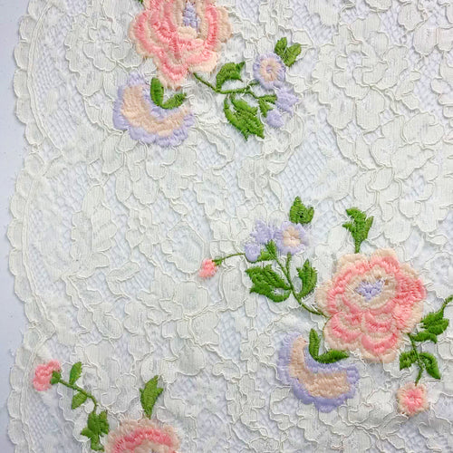 Rose Embroidered Off White lace