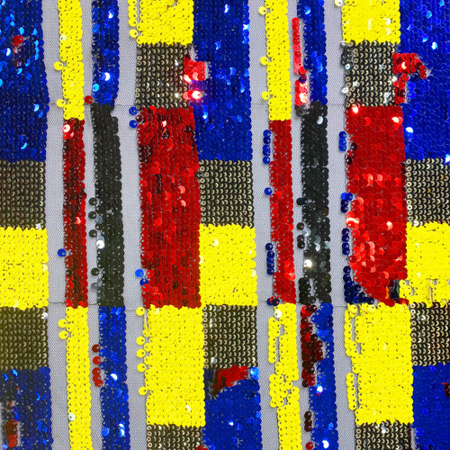 Mondrian Sequin Red Blue Yellow Stretch Mesh