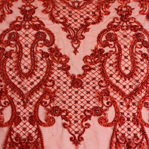 Red Diamond Beaded Lace