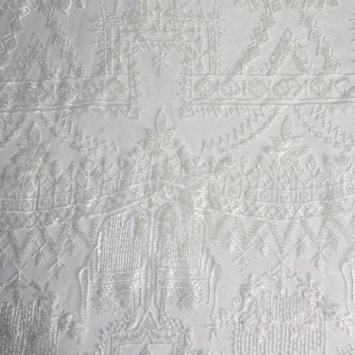 White Architectural Beaded Fabric by the yard