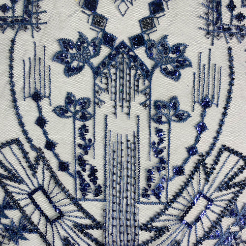 Blue Architectural Beaded Fabric by the yard