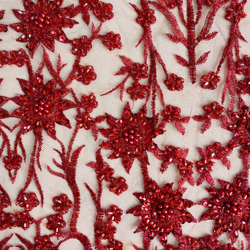 Burgundy Wine Beaded Floral Fabric