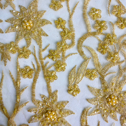 Light Gold Beaded Floral Fabric