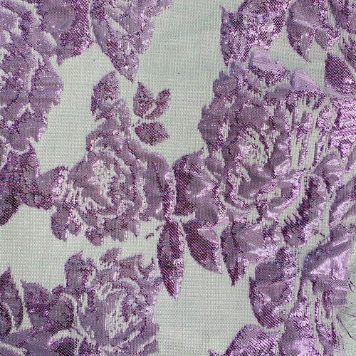Lavender/Lilac Floral Metallic Brocade Woven Fabric