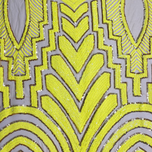 Neon Yellow/Silver Chrysler Sequin 4 way Stretch