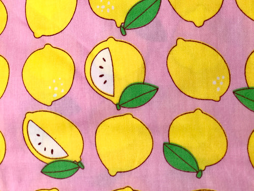 Pink Lemons Printed Cotton Fabric