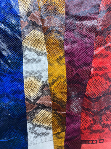 Python snake print faux vegan leather 5 Colors Available
