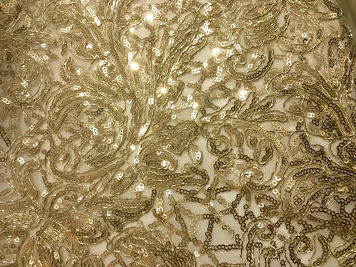 Floral Gold Embroidered Lace on Transluscent Net by the yard
