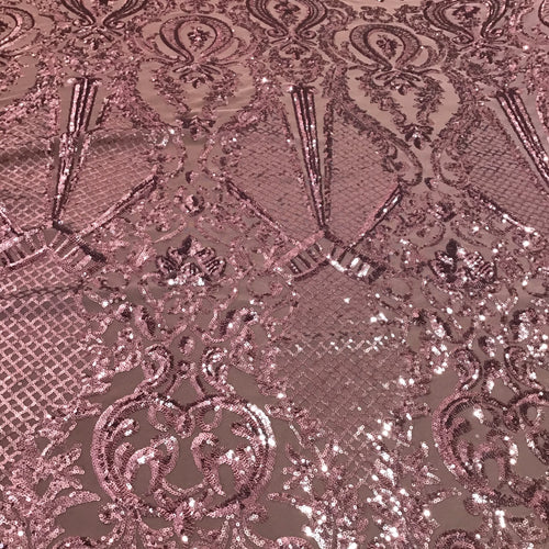 Rose Pink Baroque Sequin