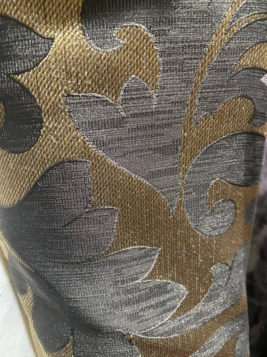 Grey/Gold Damask Metallic Brocade Woven Fabric