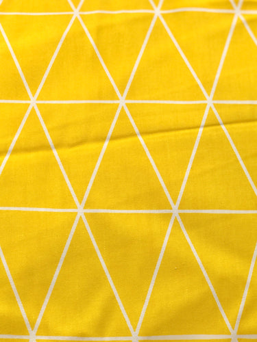 Yellow Geometric Printed Cotton Fabric