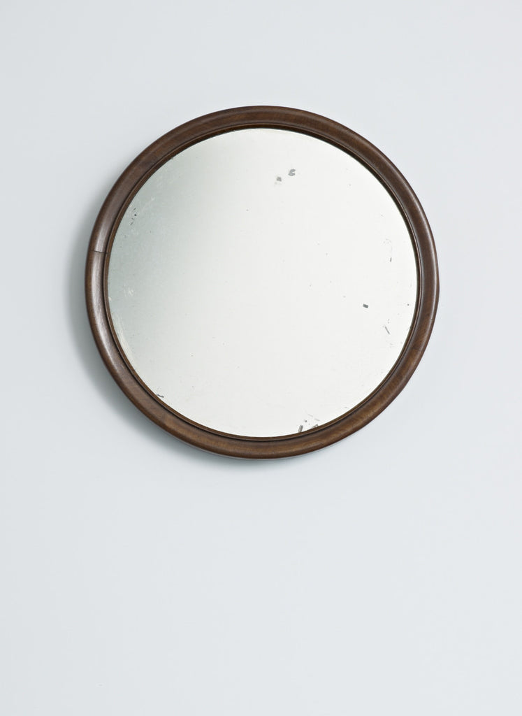 Dark Wood Framed Round Mirror