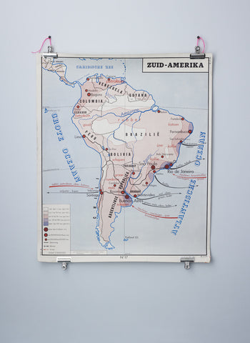 Vintage wall map of South America