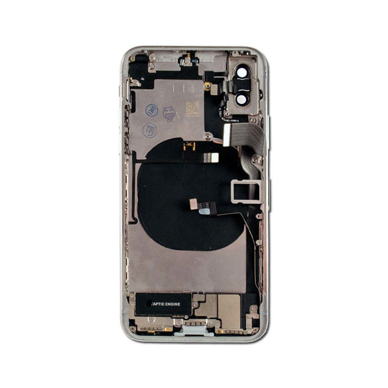 iPhone X Back Glass + Frame w/ Small Parts Preinstalled - Silver