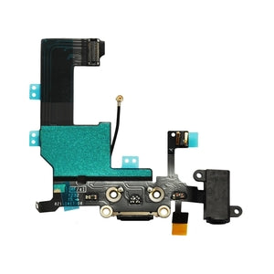 iPhone 5 Charging Port Flex Cable and Audio Jack Black - Wholesale Smartphone Parts - lcdcycle.com