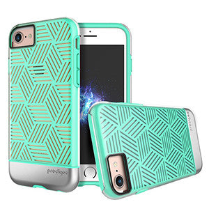 Prodigee Stencil Case For Apple iPhone 7 - Teal / Silver - Retail Packaged