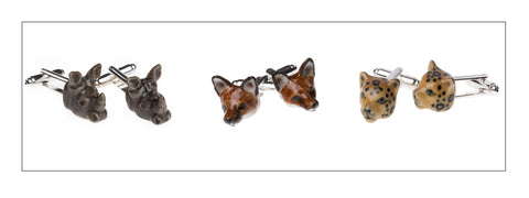 And Mary hand painted porcelain animal head cufflinks