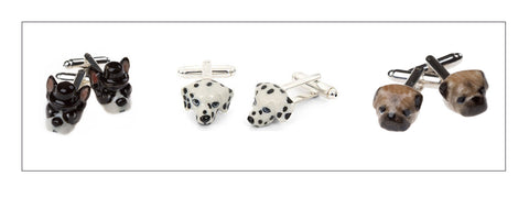 And Mary hand painted porcelain dog head cuffs.