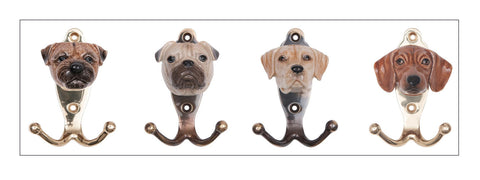 And Mary hand painted porcelain dog head hooks