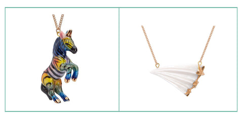 rainbow unicorn necklace, shooting star necklace.