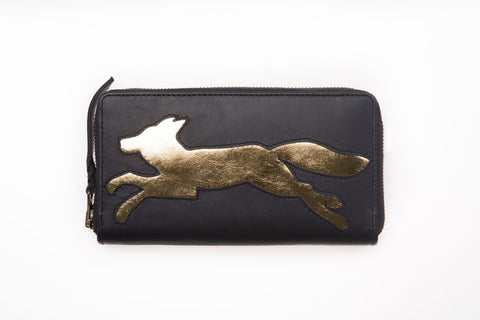 Navy Leather Fox Cut Out Purse