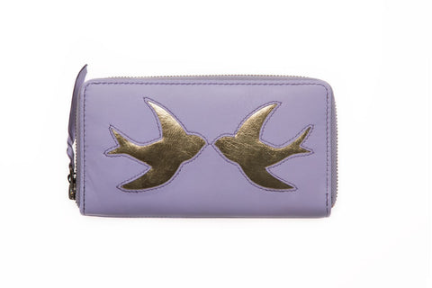 Lavender Leather Swallow Cut Out Purse