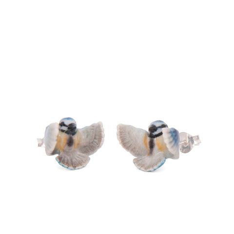 Flying Blue Tit Stud Earrings