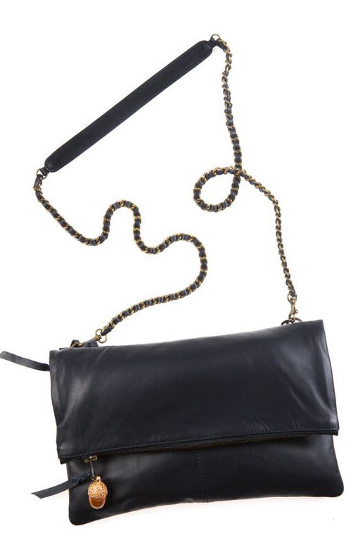 Italian Leather Navy Foldover Bag with Acorn Charm